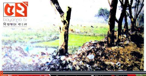 সিলেটের  হবিগঞ্জে বর্জ্যের দূষণে মারা যাচ্ছে মহাসড়কের পাশের শতাধিক গাছ